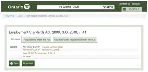 Ontario Employment Standards Act