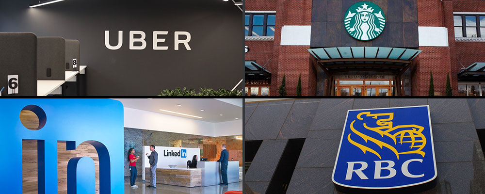 logos for Uber, Starbucks, RBC, and LinkedIn clockwise